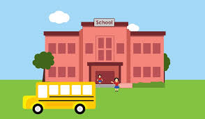 Front of school and bus